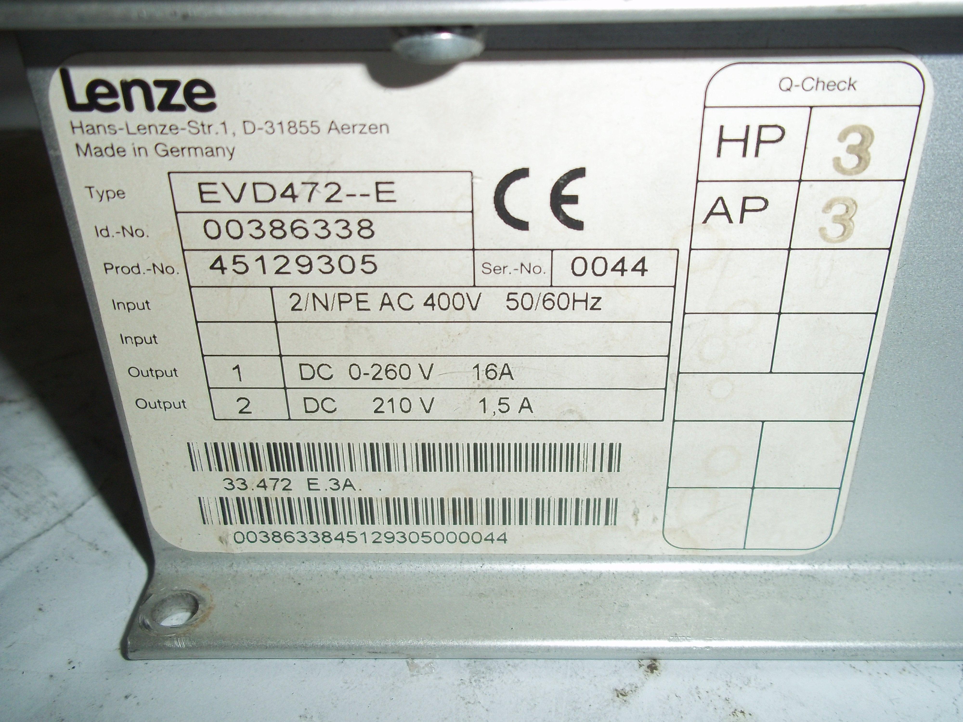 Repair EVD472--E LENZE POWER CARD in Malaysia, Singapore, Thailand, Indonesia