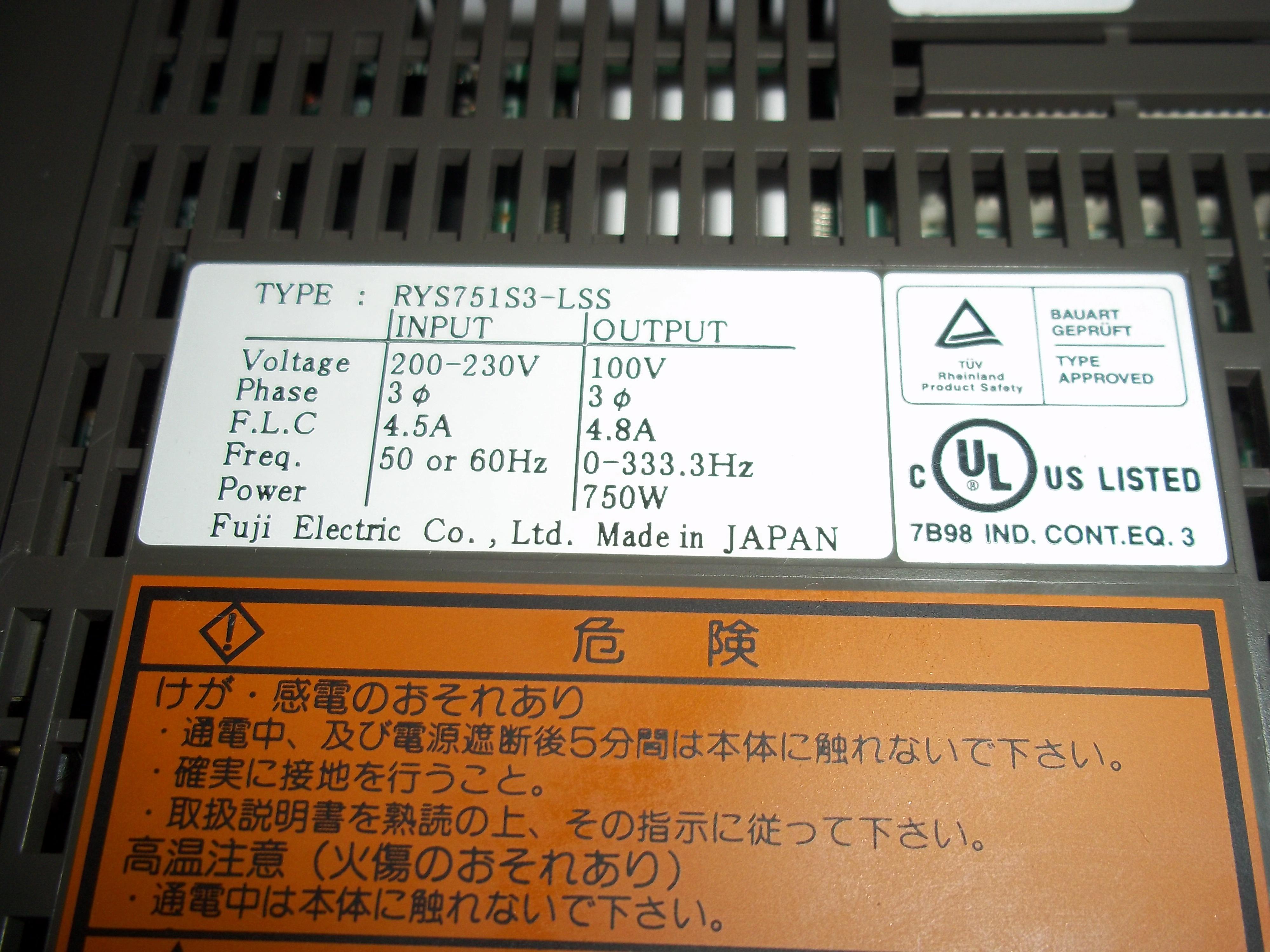 Repair RYS751S3-LSS FUJI FUJI FALDIC in Malaysia, Singapore, Thailand, Indonesia