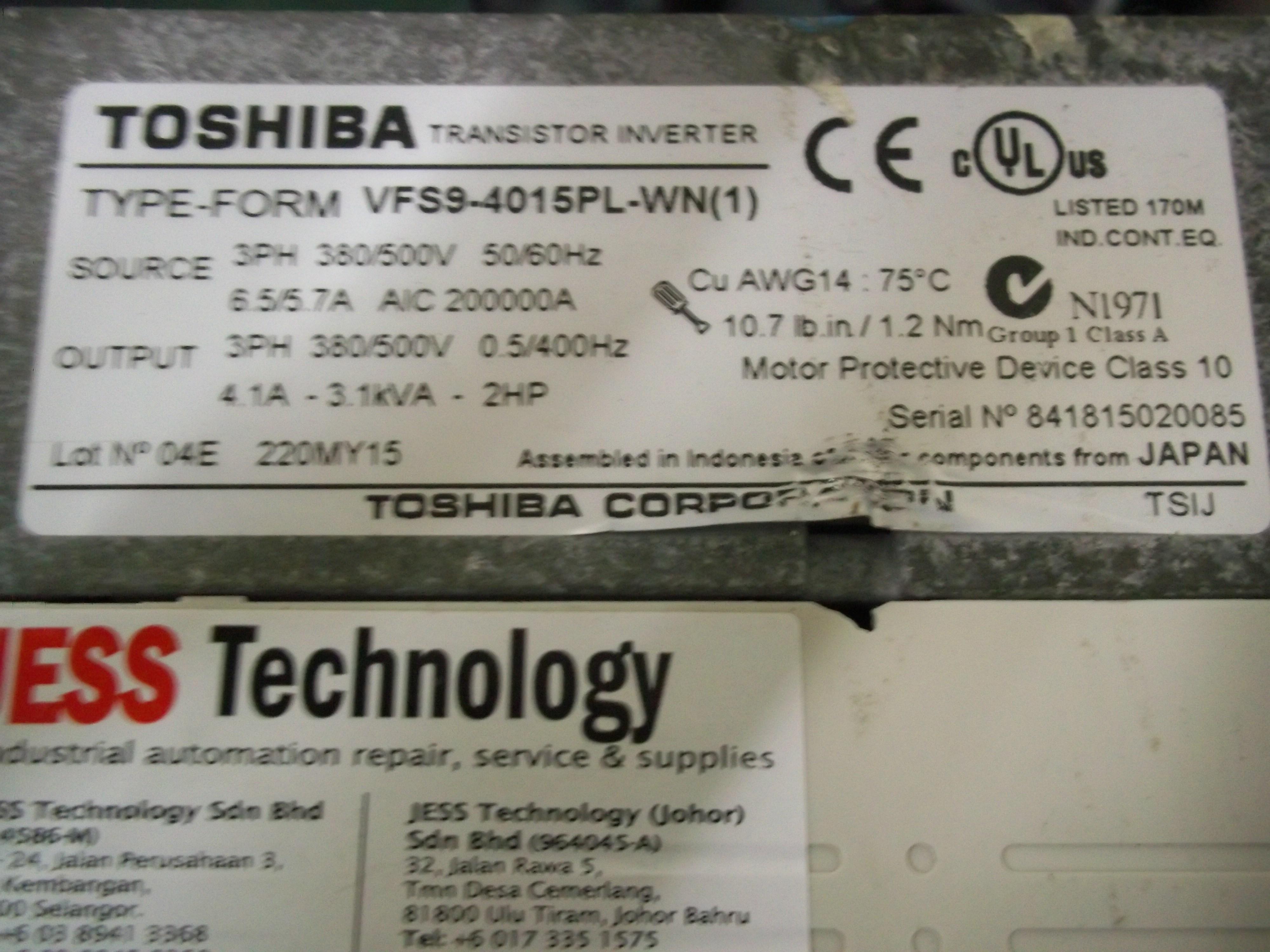 Repair VFS9-4015PL-WN(1) TOSHIBA TOSHIBA TRANSISTOR INVERETER in Malaysia, Singapore, Thailand, Indonesia