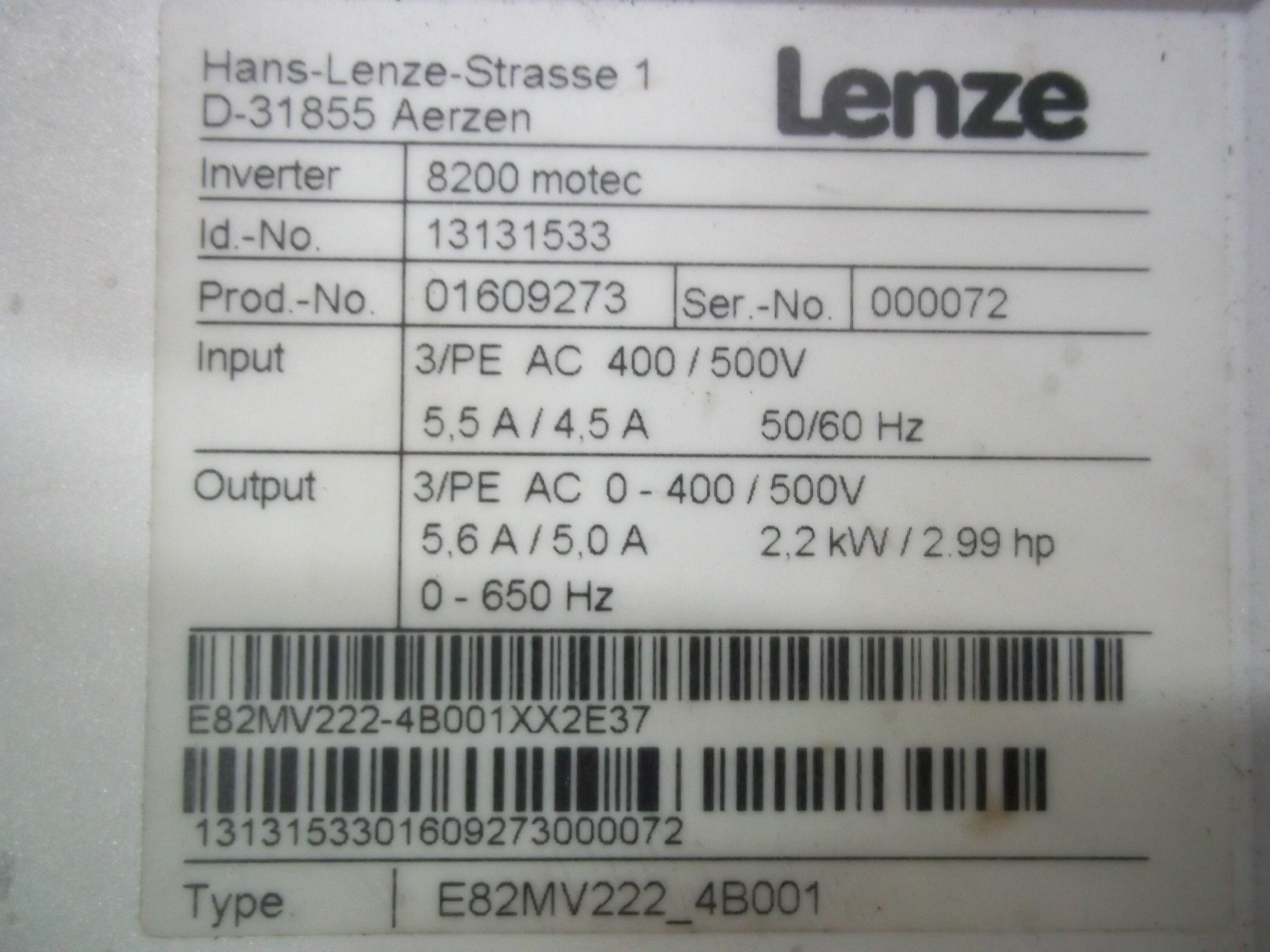 Repair E82MV222_4B001XX2E37 (D-31855) LENZE  LENZE 8200 MOTEC in Malaysia, Singapore, Thailand, Indonesia