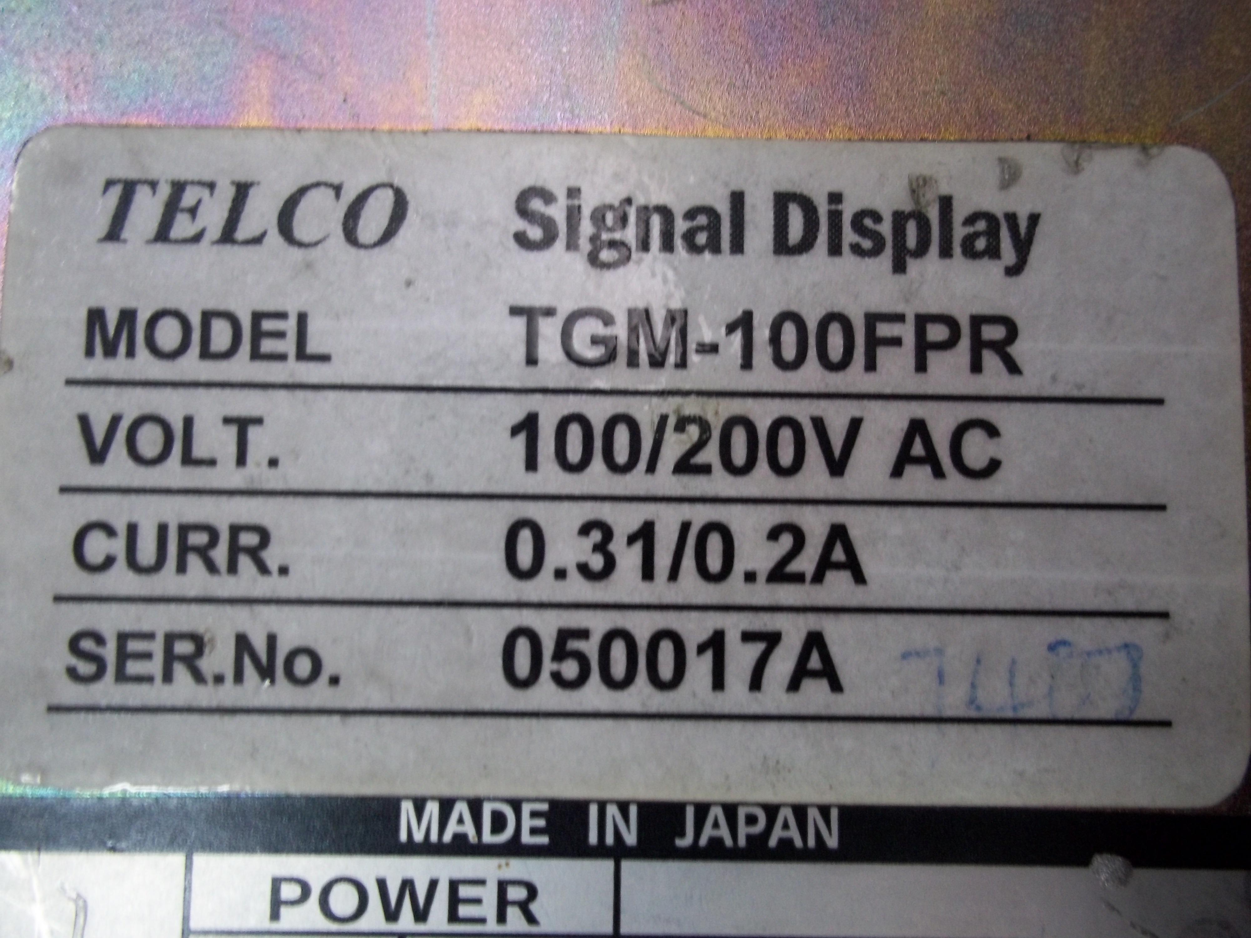 Repair TGM-100FPR TELCO  TELCO SIGNAL DISPLAY in Malaysia, Singapore, Thailand, Indonesia