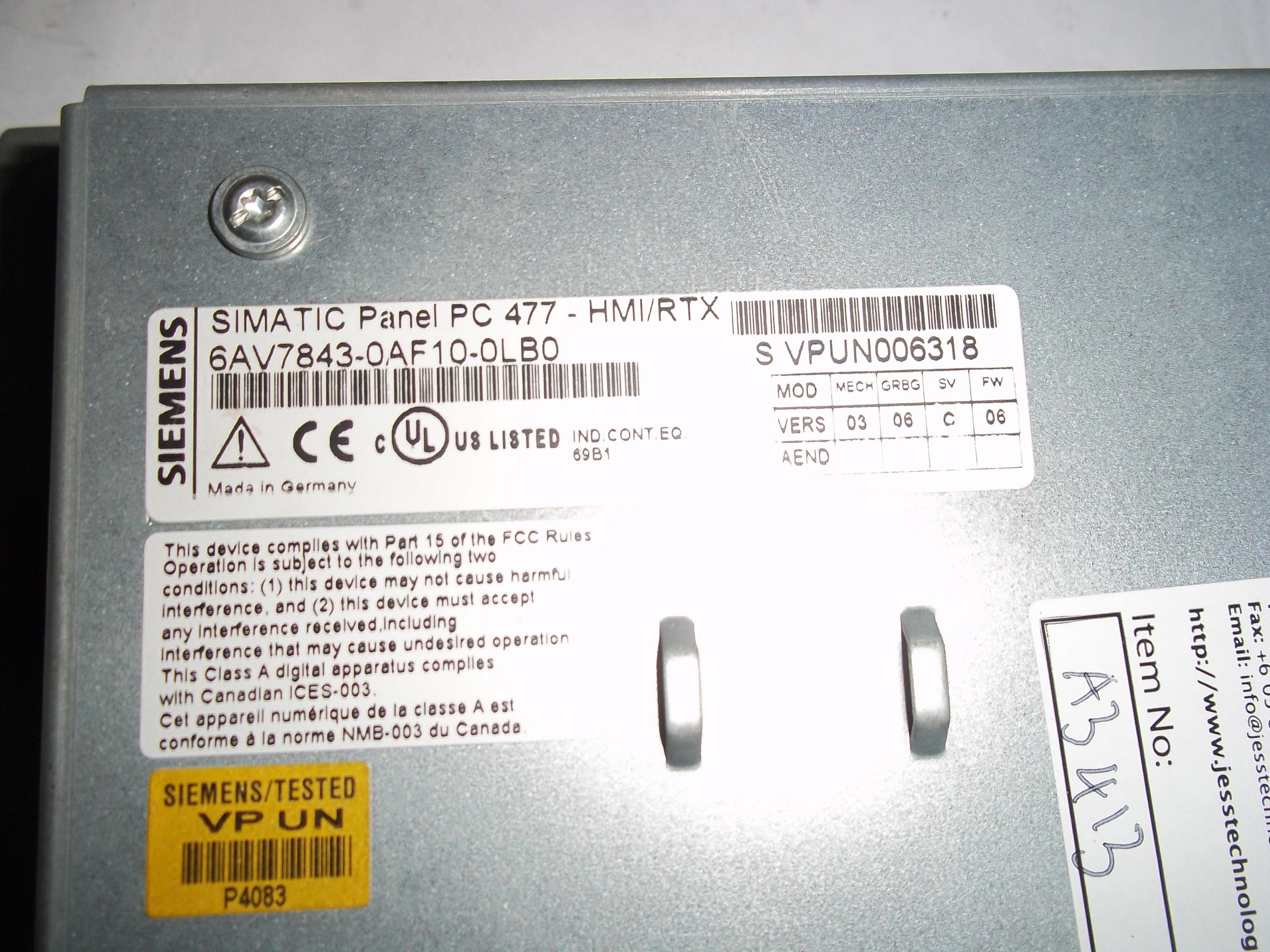Repair 6AV7843-0AF10-0LB0 SIEMENS  SIEMENS SIMATIC PANEL PC (6AV7843-0AF10-0LB0) in Malaysia, Singapore, Thailand, Indonesia
