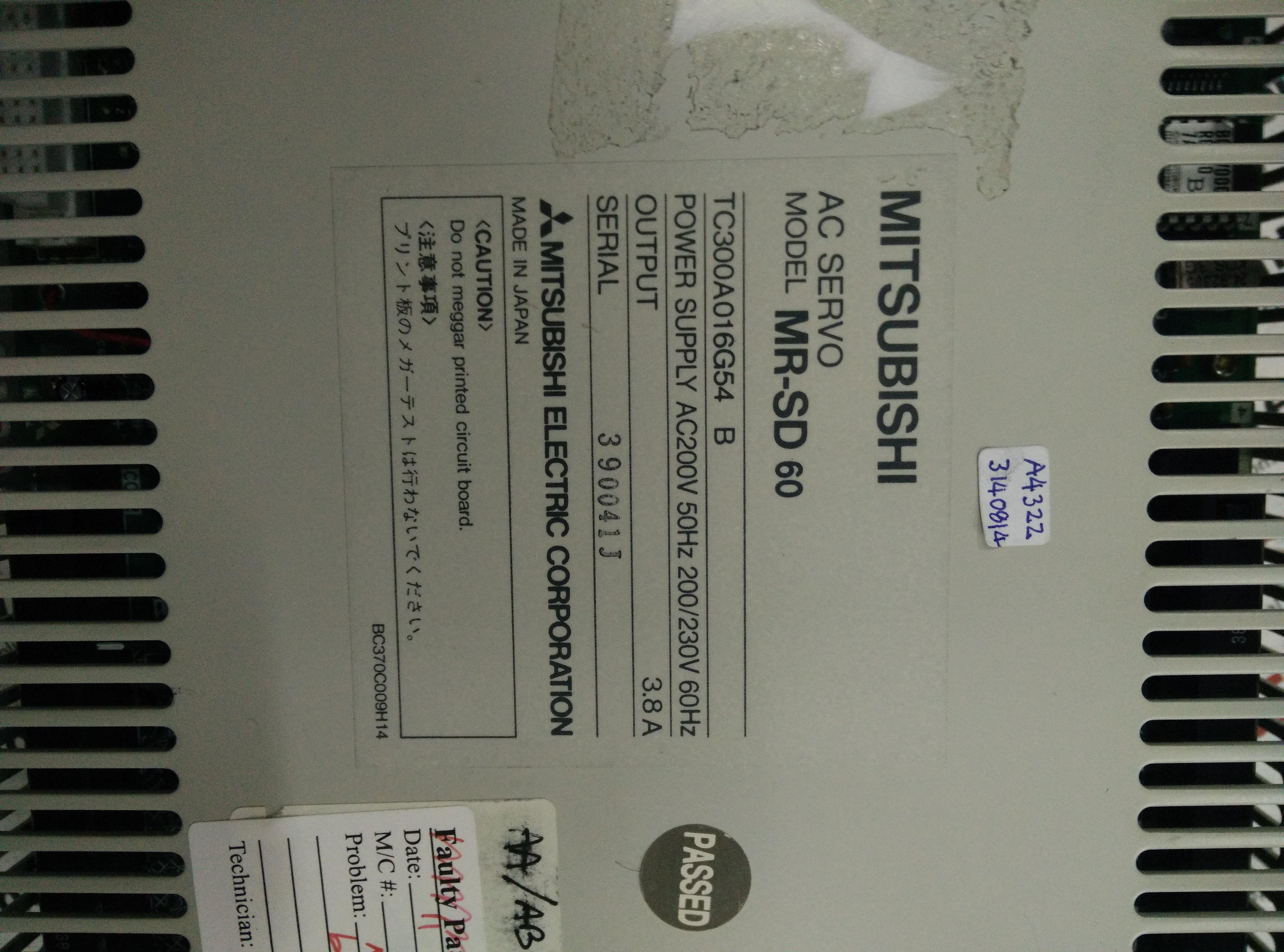Repair MR-SD60 MITSUBISHI MITSUBISHI AC SERVO in Malaysia, Singapore, Thailand, Indonesia