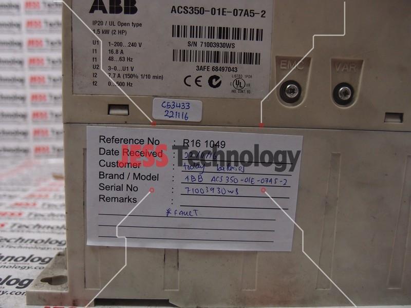 Repair ABB ACS350-01E-07A5-2 ABB INVERTER in Malaysia, Singapore, Thailand, Indonesia