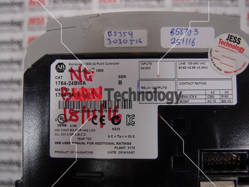 Repair ALLEN BRADLEY 1764-24BWA ALLEN BRADLEY MICROLOGIX 1500 24 POINT CONTROLLER in Malaysia, Singapore, Thailand, Indonesia
